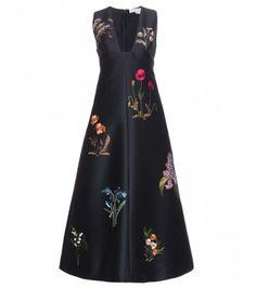 Verziertes Kleid Aus Baumwolle Und Seide