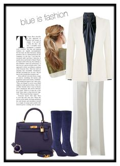 A fashion look from December 2016 featuring puff sleeve blouse, long blazer jacket and white wide leg trousers. Browse and shop related looks. Armani Jeans, Kitsch, Emporio Armani, Nine West, Yves Saint Laurent, Michael Kors, Shoe Bag, Polyvore, Blue