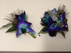 Blue orchid bout and corsage by the Painted Daisy in Highland Utah