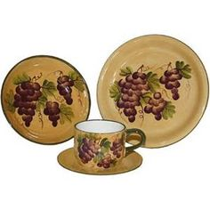 Rich and vibrant in color this rustic hand-painted dinnerware set featuring grape vines and bunches in deep purple and green on a sandy background.  sc 1 st  Pinterest & Dinnerware Set Tuscany Grape Wine 16 Piece Plates Bowls Mugs 4 Place ...