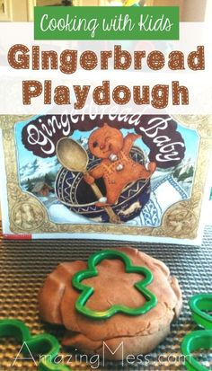 This gingerbread playdough recipe is easy to make and kids love it. You can also find some activities to do with the book Gingerbread Baby by Jan Brett.