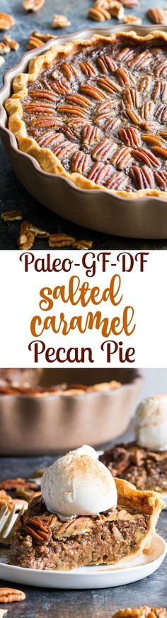 This salted caramel pecan pie is made with an easy dairy free salted caramel sauce and flaky grain free pastry crust (with a dairy-free option) for a rich gooey and sweet paleo dessert for the holidays or any special occasion!