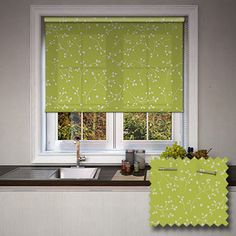 Retro Kitchen Lime Contemporary Patterned Roller Blinds