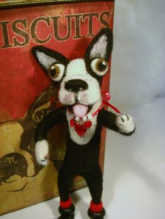 Needle Felted Boston Terrier Dog ,Handmade dog, Pet Lovers Gifts
