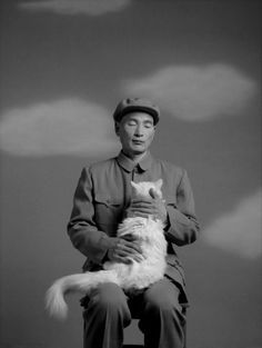 WangNingde,Famous Chinese contemporary photographer with cat