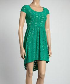 Look at this #zulilyfind! Green Eyelet Cap-Sleeve Dress #zulilyfinds