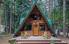 """Casa din lemn mica, ieftina si practica construita in forma de """"A"""" - proiect si imagini"""