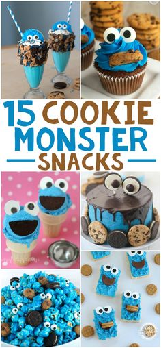 If you want to make the most epic and delicious Cookie Monster treats ever, here 15 Delicious Cookie Monster Snacks! Cookie Monster Cakes, Monster Smash Cakes, Monster Cupcakes, Baby Cookies, Cookies Et Biscuits, Yummy Cookies, 1st Birthday Foods, Birthday Cookies, Birthday Ideas