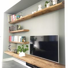 Feature Wall Living Room, Living Room Tv, Home And Living, Kitchen Living, Small Living, Kitchen Decor, Apartment Bedroom Decor, Small Apartment Decorating, Apartment Living