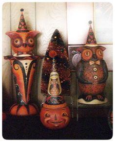 vintage-style halloween figures