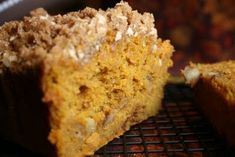 Pumpkin Bread with crumb topping!  Great from scratch - but if you're in a hurry, use trader joes pumpkin bread mix, and this crumb topping (which is super easy and good!).