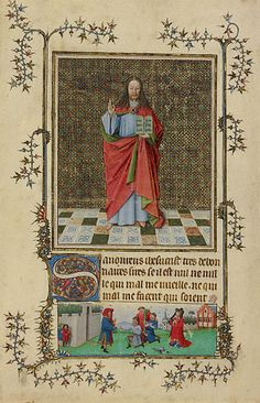 Christ Blessing (Getty Museum)  Flemish, about 1440 - 1450   Tempera colors, gold leaf, and ink on parchment