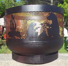 "Wood burning Muskoka Fire Pit. 30"" diameter, made out of recycled propane tanks. From MuskokaFirePits.com."