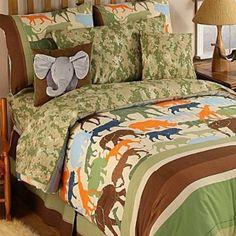 Animals Jungle Safari Blue Kids Bed Sheet Sets Twin Full