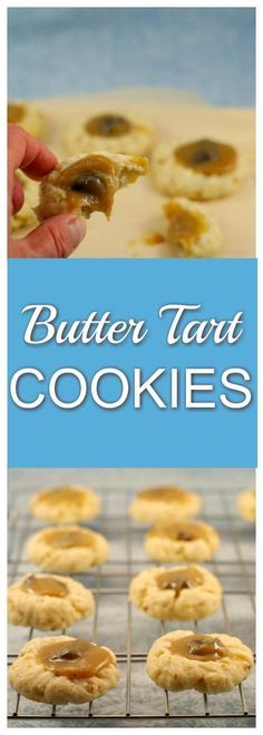 Butter Tart Cookies | thumbprint cookie- Foodmeanderings.com These Butter Tart Thumbprint Cookies are filled with ooey gooey rich butter tart filling, nestled in a pecan sugar cookie. If you love butter tarts, you will love this scrumptious cookie with an easy butter tart filling! #buttertarts #cookies #buttertart #holidaycookies #holidaycookierecipes #christmascookies #christmascookierecipes #thumbprintcookies