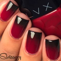Black and Red Gradient Nails Design for Short Nails
