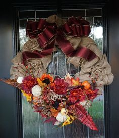 Square Fall Burlap Wreath with Rich Colors by ATwistDivine