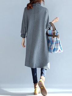 Casual Women Long Sleeve Solid Color Turtleneck Dress with Pockets - Banggood Mobile