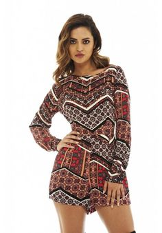 Long Sleeved Printed Playsuit £25
