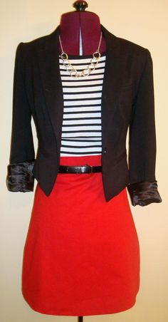 Funny.... I kind of wore this exact outfit today. Switch the except black shirt and striped blazer...