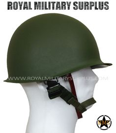 Helmet - M1 (US Army) - STEEL |  OD GREEN (Olive Drab) M1 (US Army/Navy/Marines Trooper Design) Adjustable (Internal Adjustment System) Removeable Inside Shell Adjustable Chin Straps (Leather & Canvas) 100% Metal/Steel One Size (Full Size Replica) Cats Eye Band Included BRAND NEW http://royalmilitarysurplus.com/Helmets-Covers_c8.htm