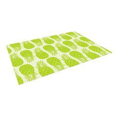 Kess InHouse Anchobee Pinya Lime Pattern Outdoor Patio Rug