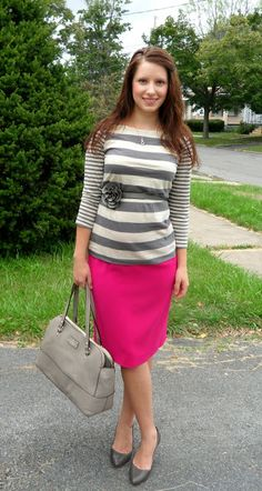 Happy Medley: Pink with Gray Stripes (believe it or not this is a maternity outfit, but it would look cute anytime!)