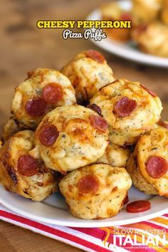 Bite Size Cheesy Pepperoni Pizza Bites - Pizza Puffs Recipe from @SlowRoasted