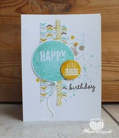 Magical Scrapworld: Happy Birthday, stampin' Up!, Celebrate today stamp, Balloon framelits