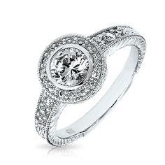 925 Silver 1.5ct CZ Solitaire Vintage Circlet Engagement Ring
