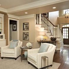 So cozy. Traditional Family Room Design, Pictures, Remodel, Decor and Ideas. Great Wall and floor color