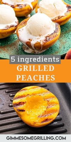 Juicy, grilled peaches are ready in 20 minutes and only require five ingredients. Tender, juicy peaches topped with a sprinkle of cinnamon, drizzle of honey and a scoop of ice cream for the perfect summer dessert recipe! #peaches #recipe via @gimmesomegrilling Easy To Make Desserts, Summer Dessert Recipes, Healthy Dessert Recipes, Delicious Desserts, Awesome Desserts, Easy Recipes, Grilled Desserts, Grilled Fruit, Grilled Peaches