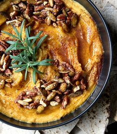 100% Vegan + Gluten Free, you can't go wrong w/ this deliriously simple + delicious Roasted Butternut Squash Hummus w/ Candied Pecans, Spicy Pepitas & Agave