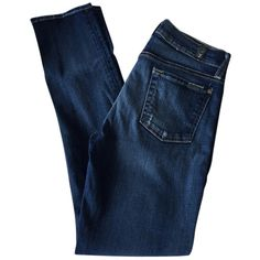 Pre-owned 7 For All Mankind Skinny Jeans ($107) ❤ liked on Polyvore featuring jeans, bottoms, pants, cigarette leg jeans, 7 for all mankind, blue jeans, skinny fit jeans and blue denim jeans