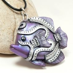 Purple Angel Fish Steampunk Faux Metal Hinged Fins Urban Industrial from Desert Rubble