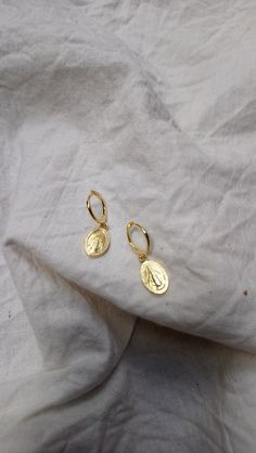 gold plated huggie earrings with patron saint pendants Dainty Earrings, Patron Saints, Cufflinks, Pendants, Brooch, Gold, Accessories, Jewelry, Jewlery