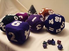 Dungeon And Dragons Baby Dice, DIY and Crafts, Baby gift for the true geek! Make dice by sewing with felt and sewing machine. Inspired by computer games and geeky. Creation posted by The AfterCra. Sewing Crafts, Sewing Projects, Diy Crafts, Fabric Crafts, Sewing Ideas, Nerd Baby, Dungeons And Dragons Dice, Nerd Crafts, Plush Pattern