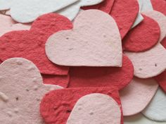 Valentine's Day is right around the corner, but this would also make an adorable and eco-friendly wedding favor! Plantable Seed Paper Hearts Confetti. by KaBloomz
