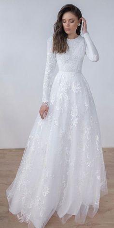 Noble White Wedding Dresses,Lace Wedding Dresses,Bridal Dresses,LV1241 on Storen... White Lace Wedding Dress, Wedding Gowns With Sleeves, Wedding Dress Trends, Long Sleeve Wedding, Wedding Bridesmaid Dresses, Dream Wedding Dresses, Gown Wedding, Wedding White, Gothic Wedding