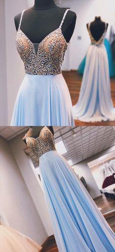Princess Beaded Blue Chiffon Long Prom Dress a5d0c3bd035f