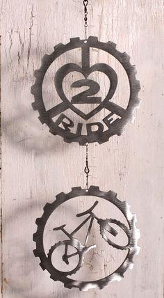 Mountain Bike Art Double wind chain by ShineOnSportyGirl on Etsy, $35.00