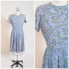 Vintage 50s Dress Blue Paisley Floral Print Acetate Crepe 1950s Vintage Day Dress with Pleated Skirt Size Large by stutterinmama on Etsy