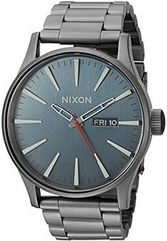 Nixon Men's 'Sentry SS' Quartz Stainless Steel Automatic Watch, Color:Grey (Model: A3562340-00) >>> You can get more details by clicking on the image.