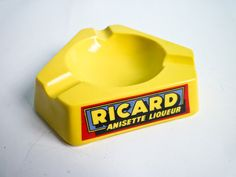Vintage Ceramic Opalex Ricard Ashtray Yellow French Opalex