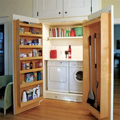 While most kitchens are designed to allow for 1 or 2 appliances such as a washing machine or dishwasher, there are kitchens that could do with the extra cupboard space for storage and a washing machine, tumble dryer can be relocated to another area. http://www.home-dzine.co.za/kitchen/kitchen-laundry-behind-doors.htm#