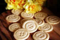 Recipe & steps for making Button Biscuits - had some like this at a tea once, tied together with ribbon through the holes - cute