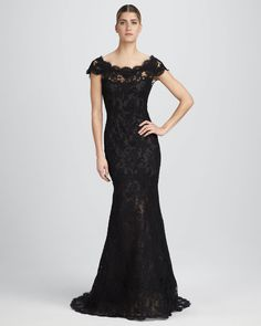 Cap-Sleeve Lace Gown by Marchesa Couture at Bergdorf Goodman. Nice Dresses, Prom Dresses, Formal Dresses, Amazing Dresses, Aqua Dresses, Long Dresses, Ball Dresses, Elegant Dresses, Beautiful Dresses