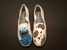 Cookie Monster Custom Vans Shoes, Custom Painted Shoes, Painted Vans, Painted Canvas Shoes, Custom Sneakers, Shoe Cookies, Shoe Painting, Disney Shoes, Shoe Art