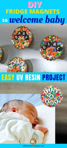 Welcome a new baby into the family with these easy-to-make UV resin fridge magnets. Spell out baby-related words and names (or dates) with alphabet beads and surround them with cake sprinkles for a fun and colourful gift that's ideal for new parents and grandparents. Or get older children involved in the project to welcome a newborn sibling into the home. #MillLaneStudio #bottlecapcrafts #diyresinproject #resinfridgemagnets #uvresinmagnet #babycraftsdiynewborn