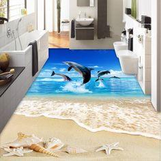 Floor Murals, Floor Art, Floor Rugs, Floor Wallpaper, Custom Wallpaper, Photo Wallpaper, Photo Wall Stickers, Koi Fish Pond, Waterproof Flooring